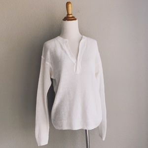 Pure White Linen Knit Split Neck Sweater